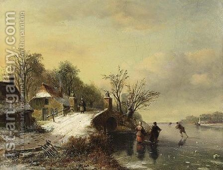 Skaters Near A Bridge by Nicolaas Johannes Roosenboom - Reproduction Oil Painting
