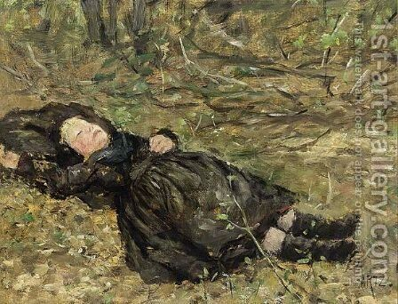 A Little Girl Resting In The Woods by David Adolf Constant Artz - Reproduction Oil Painting