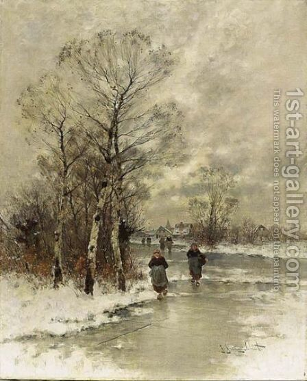 A Winter Landscape With Figures On A Frozen River by Johann Jungblutt - Reproduction Oil Painting