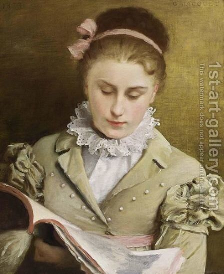 Attentive Reading by Gustave Jean Jacquet - Reproduction Oil Painting