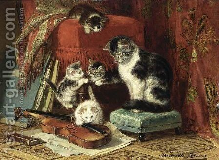 Playing Time by Henriette Ronner-Knip - Reproduction Oil Painting