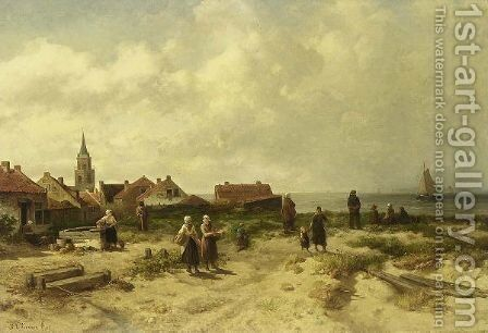 Op De Duinen Te Scheveningen (In The Dunes Of Scheveningen) by Salomon Leonardus Verveer - Reproduction Oil Painting