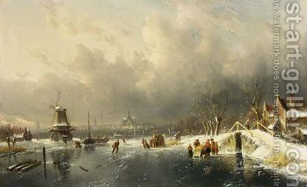 A Winter Landscape With Skaters, Haarlem In The Distance by Charles Henri Leickert - Reproduction Oil Painting