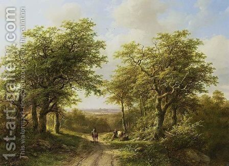 Travellers On A Country Road In A Wooded River Landscape by Barend Cornelis Koekkoek - Reproduction Oil Painting