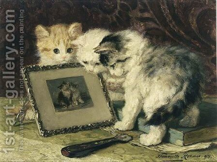 Three Curious Kittens by Henriette Ronner-Knip - Reproduction Oil Painting