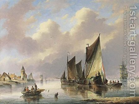 Shipping Off The Coast by Christiaan Cornelis Kannemans - Reproduction Oil Painting