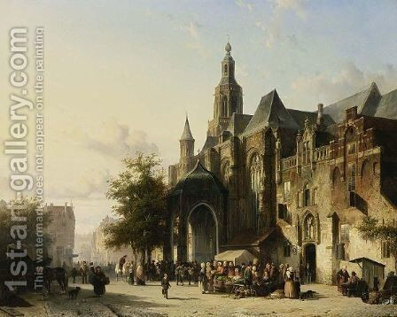 Many Figures On A Market Square In Front Of The St. Stevens Church, Nijmegen by Cornelis Springer - Reproduction Oil Painting
