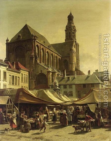 Market Day In Antwerp by Jacques Carabain - Reproduction Oil Painting