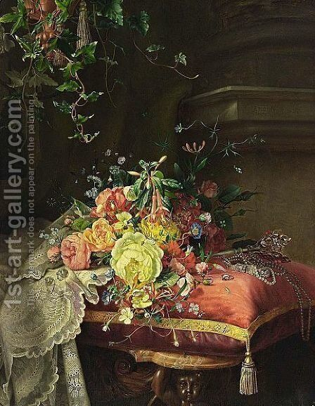 A Still Life With Flowers, Lace And Jewellery by Dirk Jan Hendrik Joosten - Reproduction Oil Painting