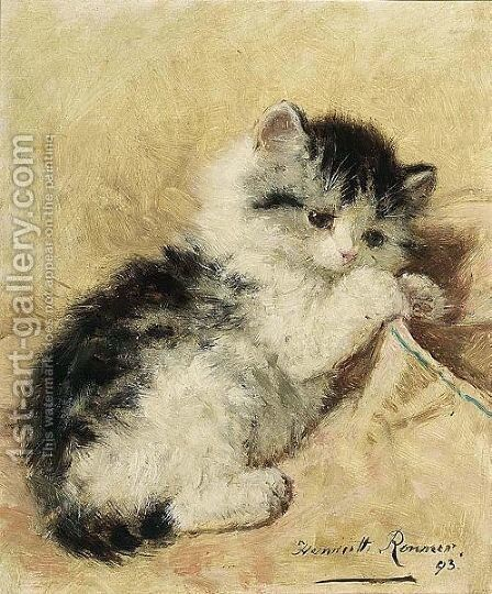 A Playful Kitten by Henriette Ronner-Knip - Reproduction Oil Painting