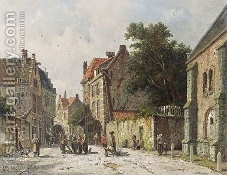 Villagers In The Streets Of A Dutch Town 2 by Adrianus Eversen - Reproduction Oil Painting