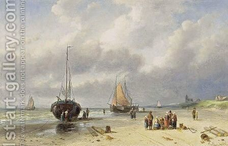 Fisherfolk On The Beach by Charles Henri Leickert - Reproduction Oil Painting