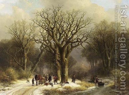 Hunters In The Snow by Johann Bernard Klombeck - Reproduction Oil Painting
