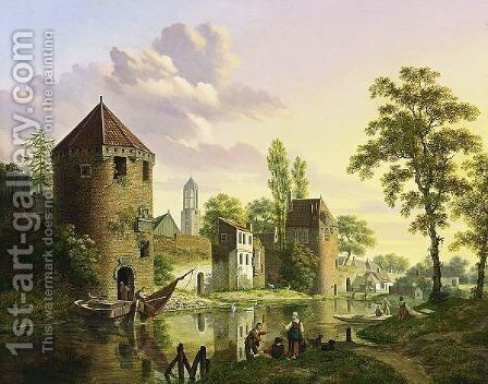 A View Of The Walled City Of Utrecht With The Dom-Tower In The Background by Jan Hendrik Verheijen - Reproduction Oil Painting
