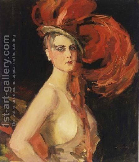 A Revue Girl (A'La Cocotte A) At The Scala, The Hague by Isaac Israels - Reproduction Oil Painting