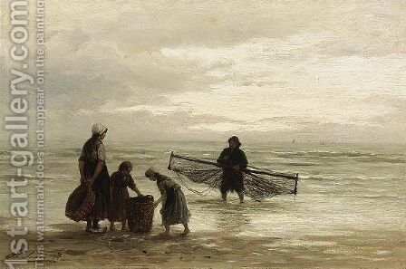 A Shrimper On The Beach by Anthon Gerhard Alexander Van Rappard - Reproduction Oil Painting