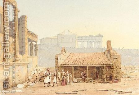 Figures By The Erectheum, With The Parthenon Beyond by (after) John Or Giovanni Schranz - Reproduction Oil Painting