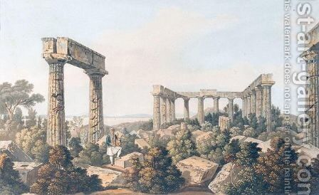 Interior Of The Temple Of Jupiter Panhellenios by (after) Dodwell, Edward - Reproduction Oil Painting