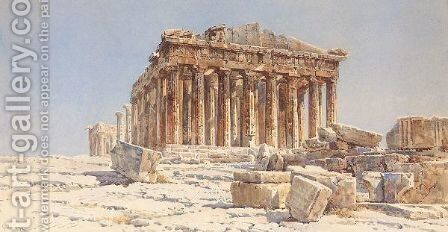 View Of The Parthenon by Angelos Giallina - Reproduction Oil Painting