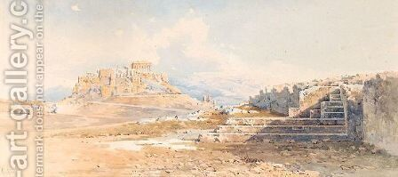View Of The Acropolis by Angelos Giallina - Reproduction Oil Painting