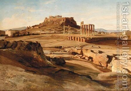 View Of The Acropolis From The Elissos River by Johan Carl Neumann - Reproduction Oil Painting