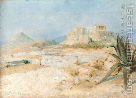 View Of The Acropolis by Continental School - Reproduction Oil Painting