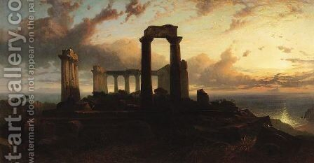 Temple Of Aphaea, Aegina, Greece by Harry John Johnson - Reproduction Oil Painting
