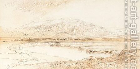 'The Purple Mountain Yonder' - Mount Olympus, Thessaly, Greece by Edward Lear - Reproduction Oil Painting