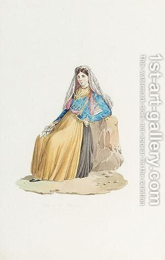 Anda Woman From Parga by Continental School - Reproduction Oil Painting
