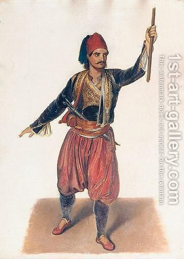 A Greek Freedom Fighter by Continental School - Reproduction Oil Painting