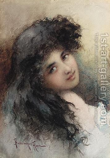 Portrait Of A Lady by Vikentios Bokatsambis - Reproduction Oil Painting
