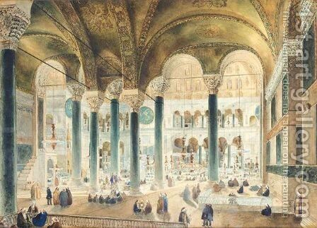 The Interior Of Hagia Sophia, Constantinople by Continental School - Reproduction Oil Painting