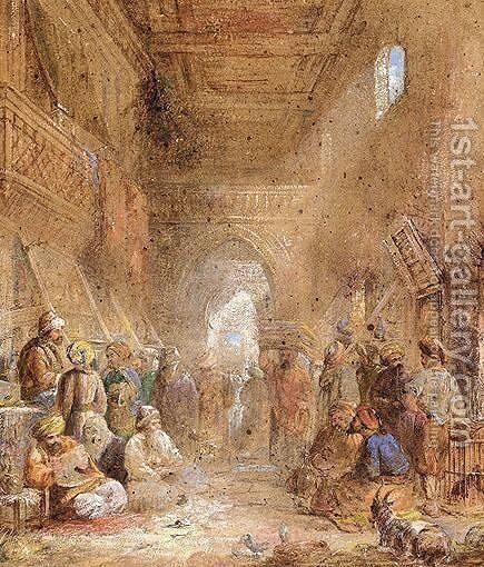 A Turkish Bazaar by Continental School - Reproduction Oil Painting