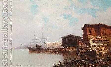 View Of Istanbul by Jean Baptiste Henri Durand-Brager - Reproduction Oil Painting