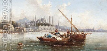 View Of Constantinople by Anton Schoth - Reproduction Oil Painting