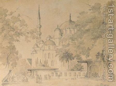 The Blue Mosque, Constantinople by Harald Stilling - Reproduction Oil Painting