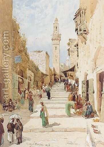 Figures On A Street In Jerusalem by Henry Andrew Harper - Reproduction Oil Painting