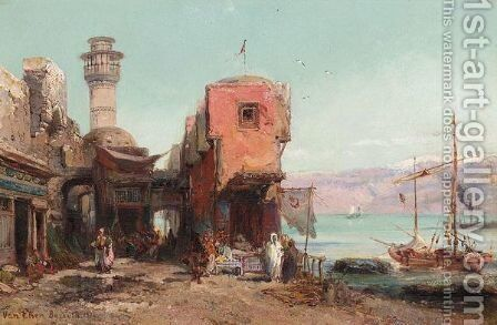 A Street Scene, Beirut by Pierre Tetar Van Elven - Reproduction Oil Painting
