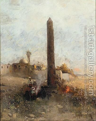 Figures By An Obelisk Outside A City Wall by Hugo Von Seckendorff-Gutend - Reproduction Oil Painting