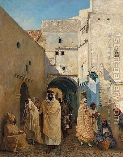 Figures On A Street In Algiers by Claude Pratt - Reproduction Oil Painting