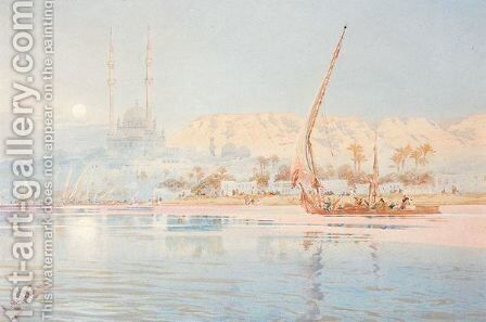 A Dhow On The Nile At Cairo by Augustus Osborne Lamplough - Reproduction Oil Painting