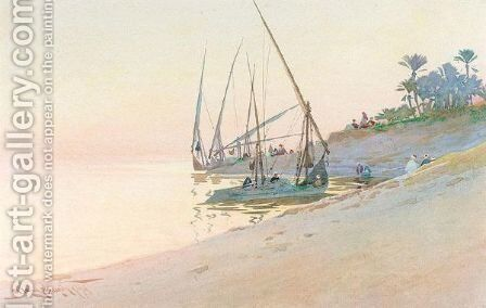 Dhows Moored Off The Shore by Augustus Osborne Lamplough - Reproduction Oil Painting