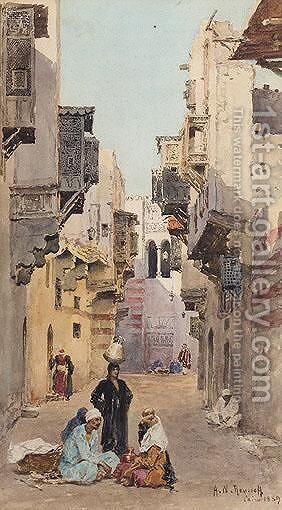 Figures Conversing On A Street In Cairo by Alexandre Nicolaievitch Roussoff - Reproduction Oil Painting