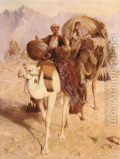 A Caravan Of Camels Crossing The Desert, Mountains Beyond by Joseph-Austin Benwell - Reproduction Oil Painting