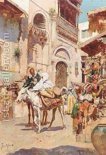 A Street Market, North Africa by Continental School - Reproduction Oil Painting