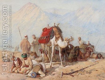 Arabs Praying In The Desert With A Caravan Of Camels Beyond by Joseph-Austin Benwell - Reproduction Oil Painting