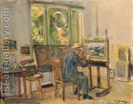 Der KAnstler In Seinem Atelier In Wannsee (The Artist In His Studio In Wannsee) by Max Liebermann - Reproduction Oil Painting