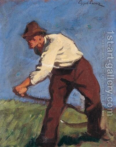 Bergmaher (Mountain Mower) by Albin Egger-Lienz - Reproduction Oil Painting