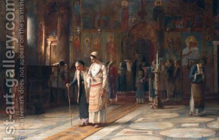 After The Service by Theodoros Rallis - Reproduction Oil Painting