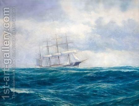 A Tallship In High Seas by Emilios Prosalentis - Reproduction Oil Painting